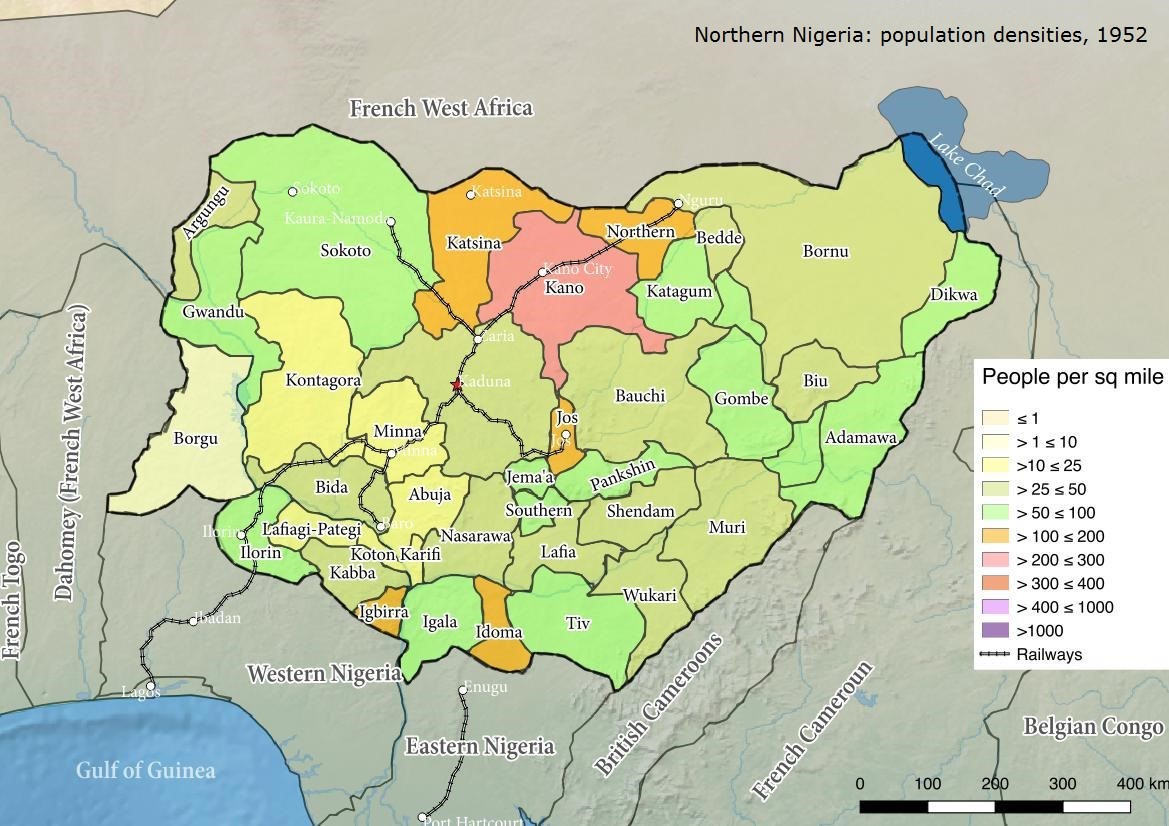 Northern Nigeria: Population densities, 1952