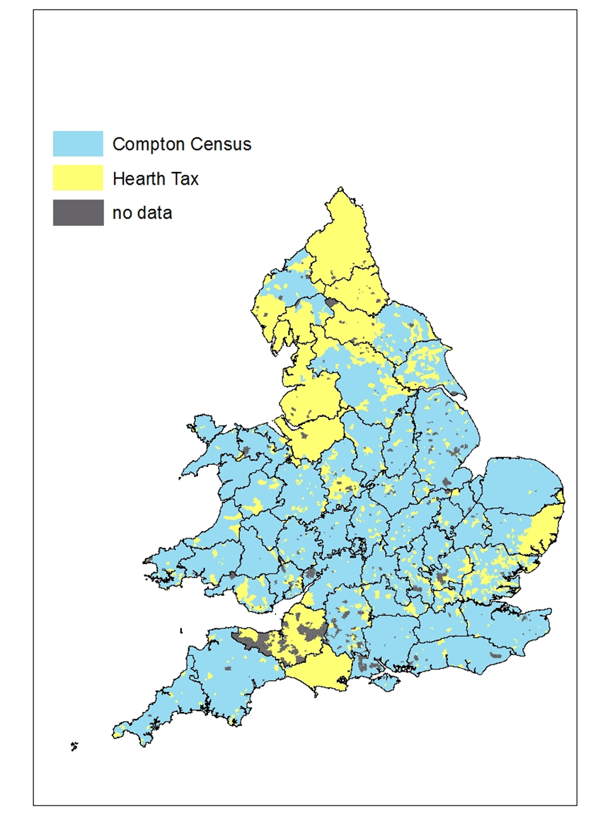 distribution of compton census data and hearth tax data