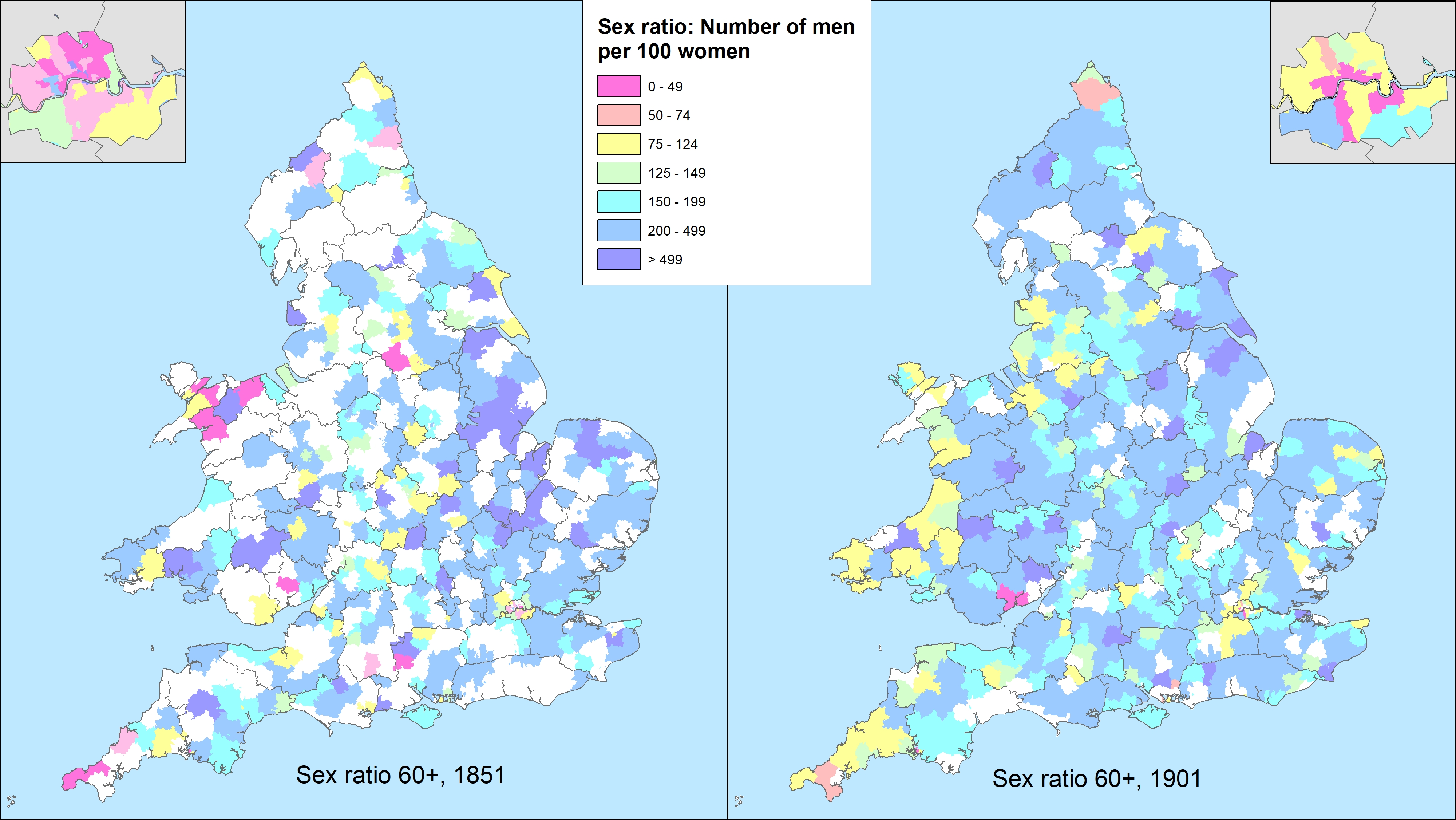 Maps showing sex ratio of elderly workhouse residents aged over 60 in English and Welsh Registration Districts in 1851 and 1901